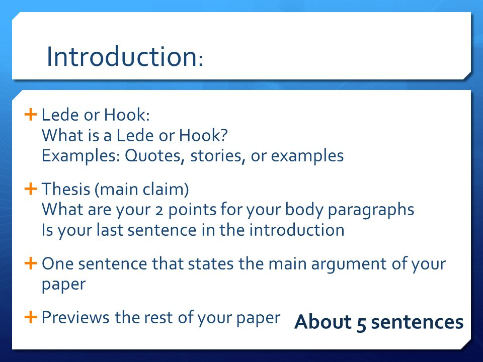 Introduction: About 5 sentences