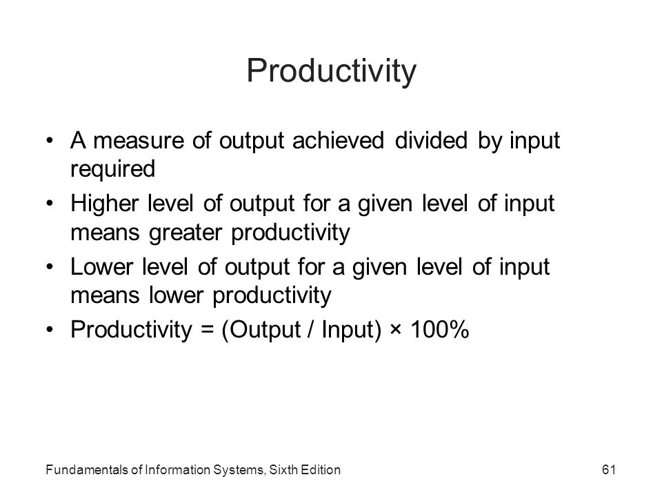Productivity A measure of output achieved divided by input required