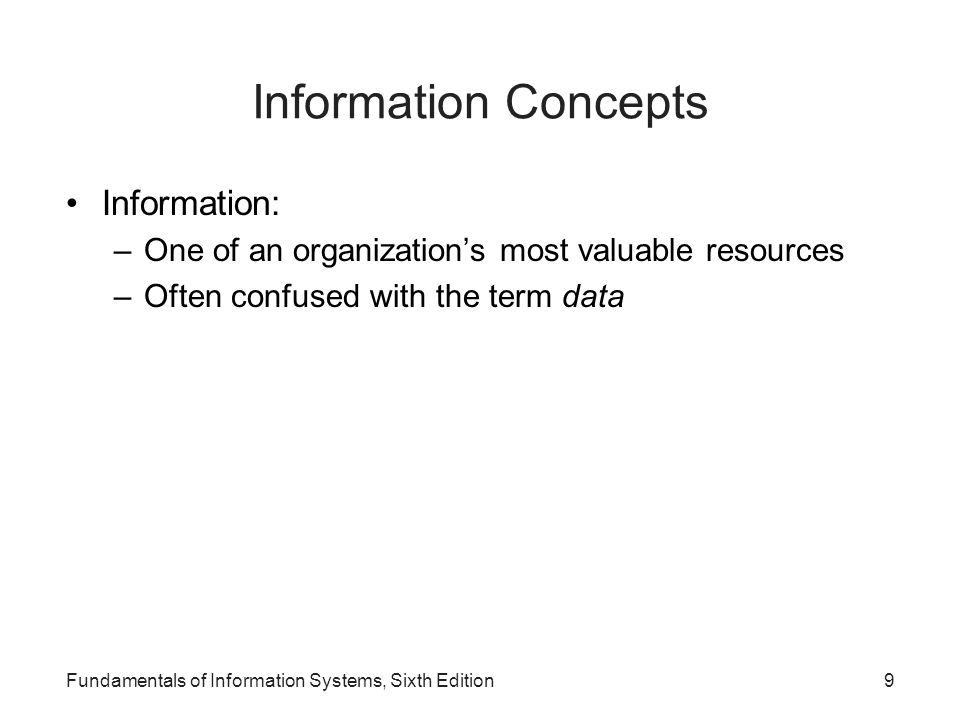 Information Concepts Information: