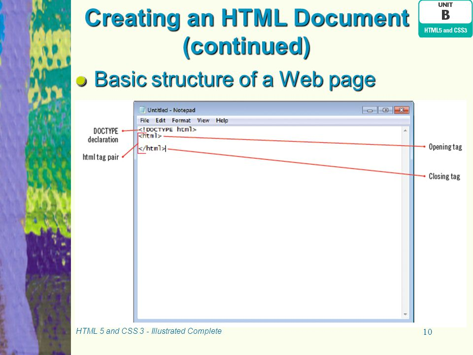 Creating an HTML Document (continued)