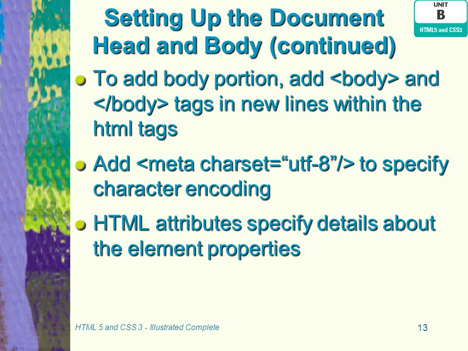 Setting Up the Document Head and Body (continued)