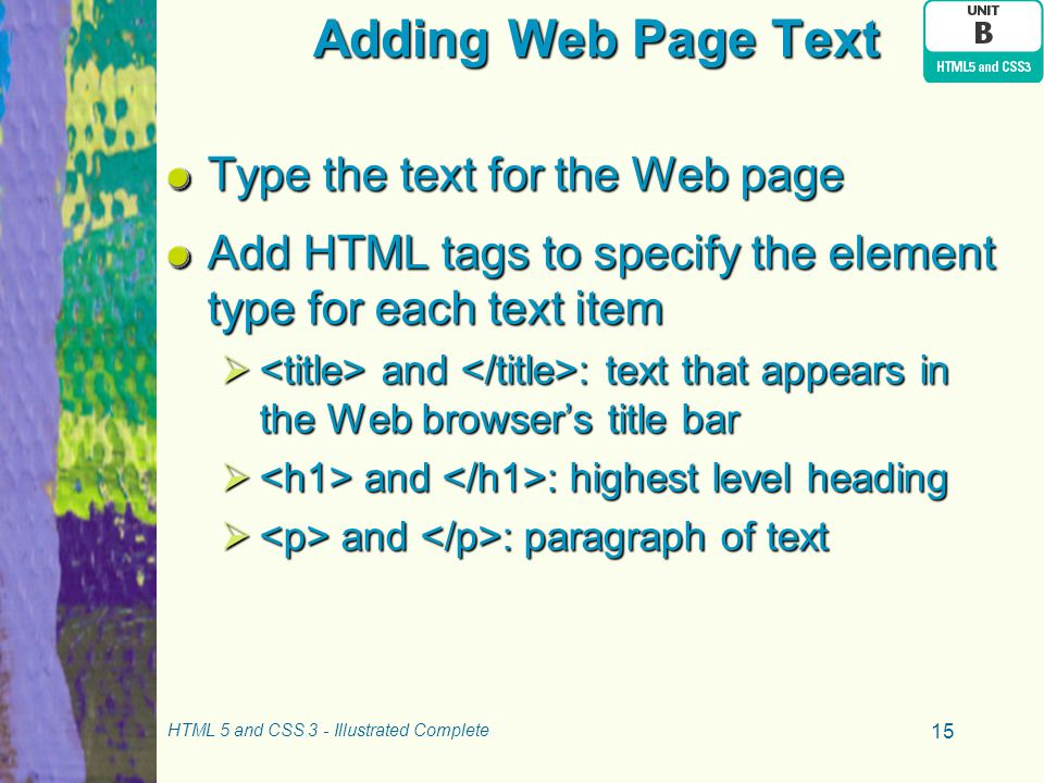 Adding Web Page Text Type the text for the Web page