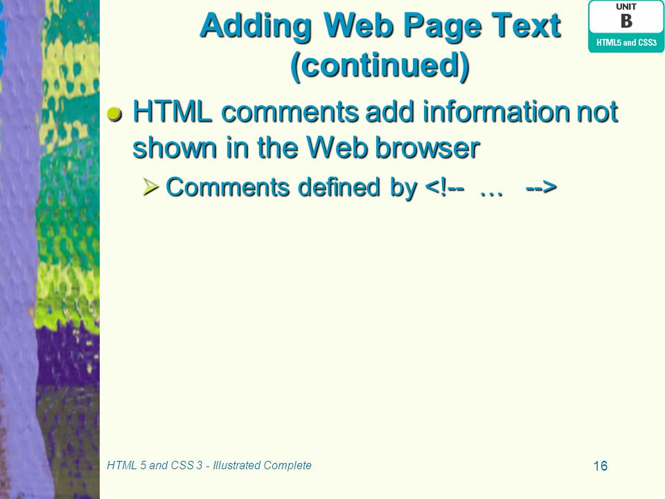 Adding Web Page Text (continued)