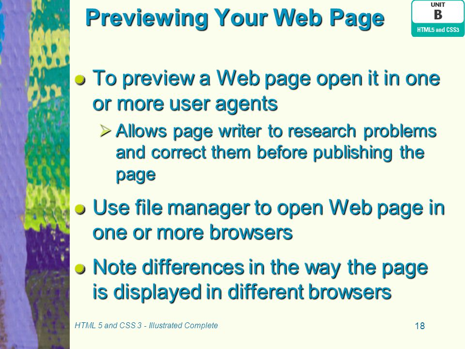Previewing Your Web Page