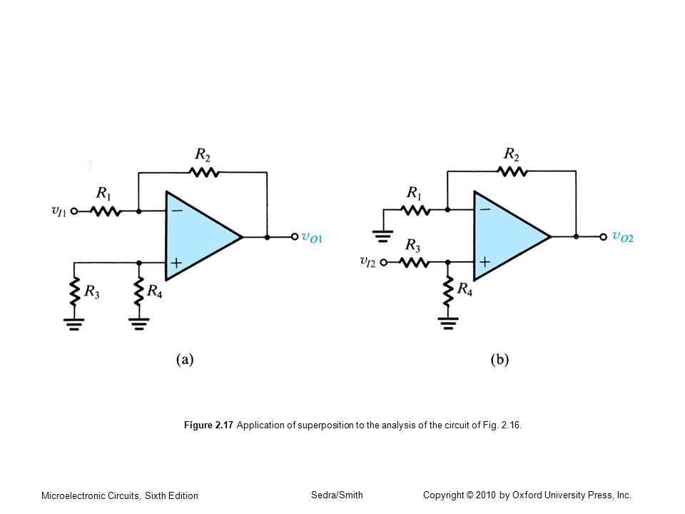 Figure 2.17 Application of superposition to the analysis of the circuit of Fig