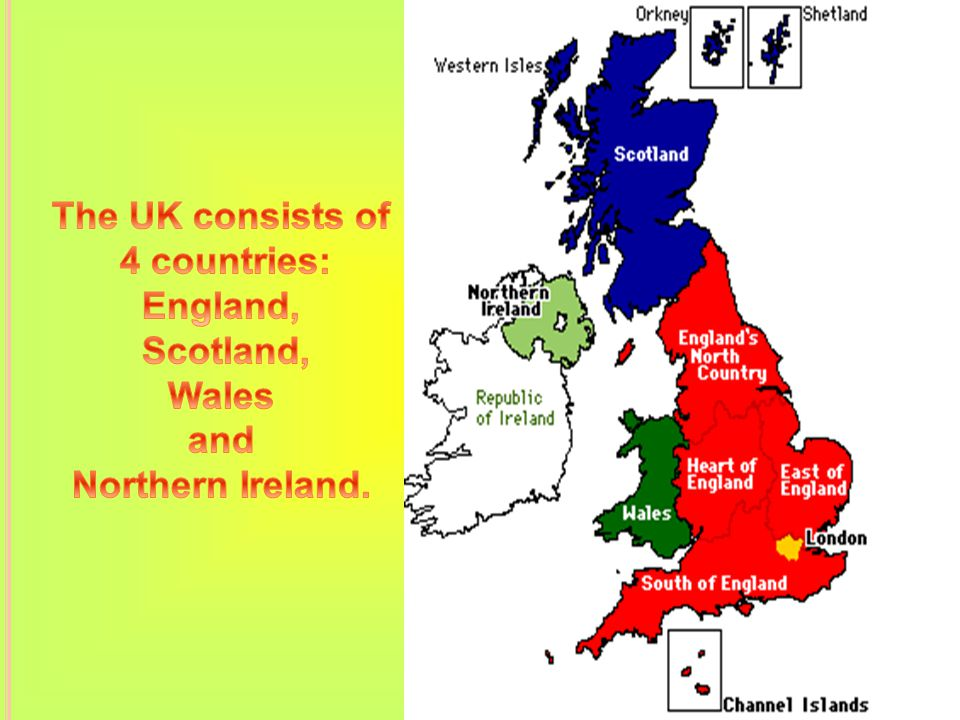 Map Of Uk Showing 4 Countries.The United Kingdom Of Great Britain And Northern Ireland Ppt