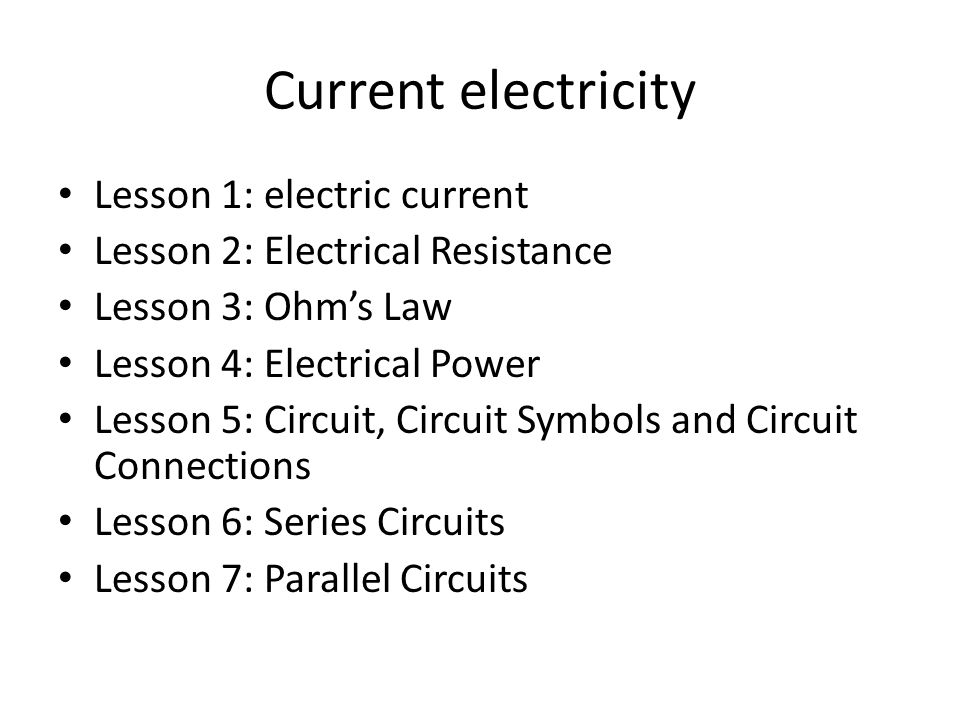 Current Electricity Lesson 1 Electric Current Ppt Download