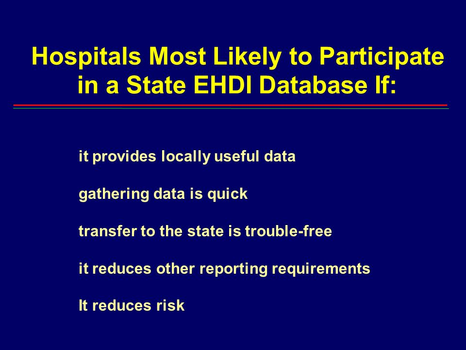 Hospitals Most Likely to Participate in a State EHDI Database If: