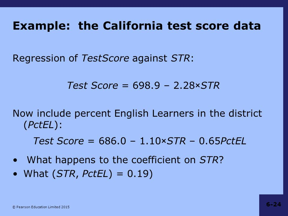 Example: the California test score data