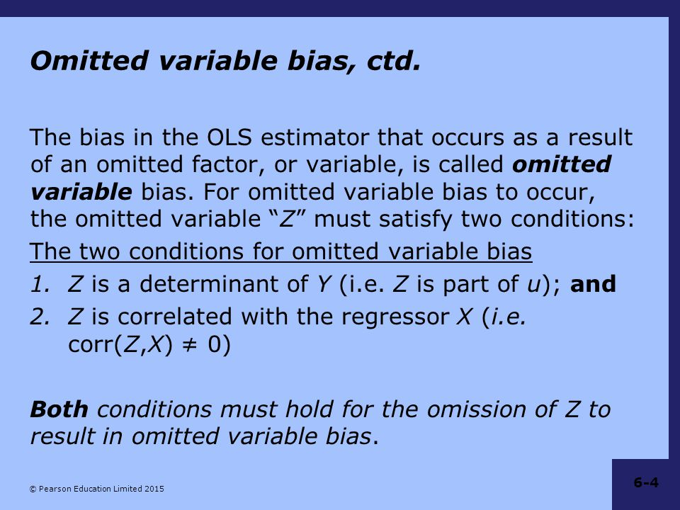 Omitted variable bias, ctd.