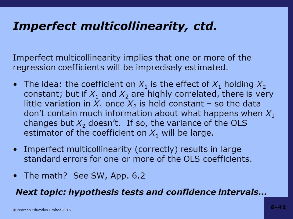 Imperfect multicollinearity, ctd.