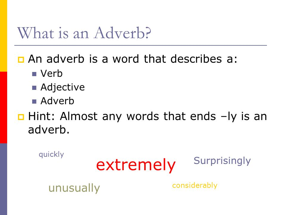 What is an Adverb extremely An adverb is a word that describes a: