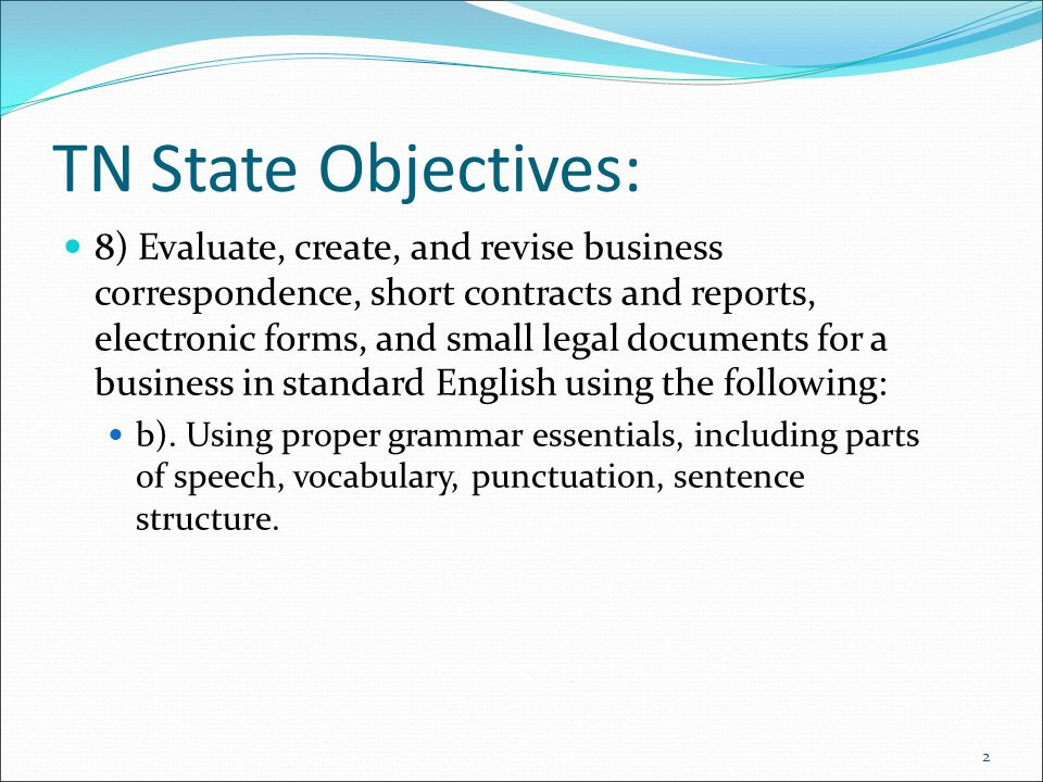 TN State Objectives: