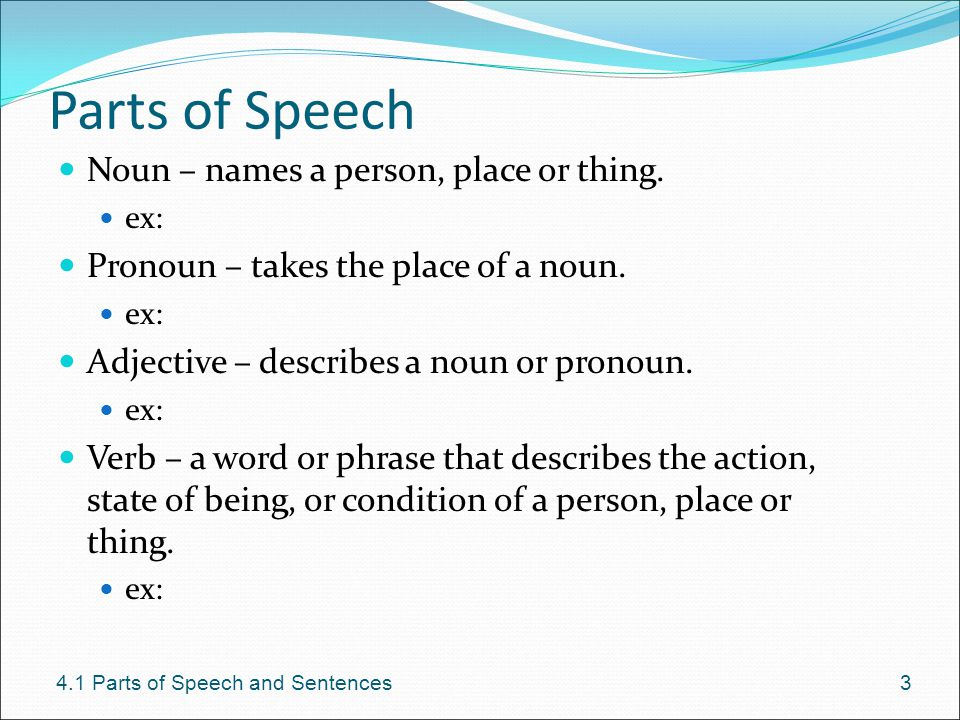 Parts of Speech Noun – names a person, place or thing.