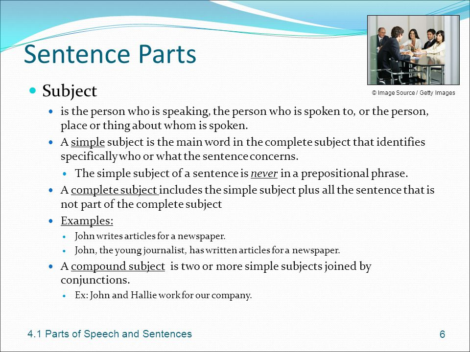 Sentence Parts Subject