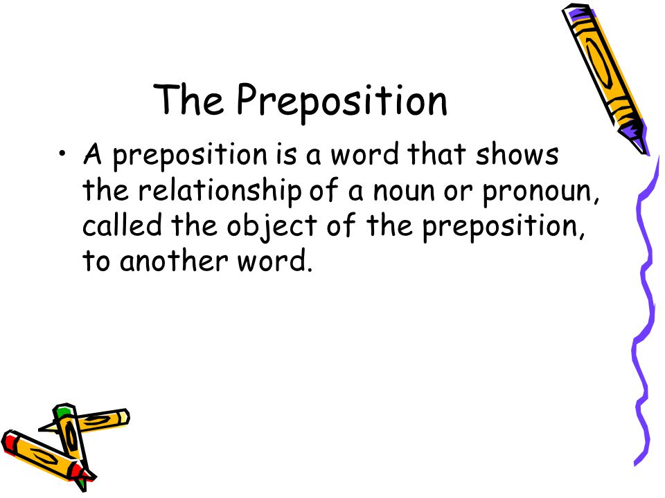 The Preposition A preposition is a word that shows the relationship of a noun or pronoun, called the object of the preposition, to another word.