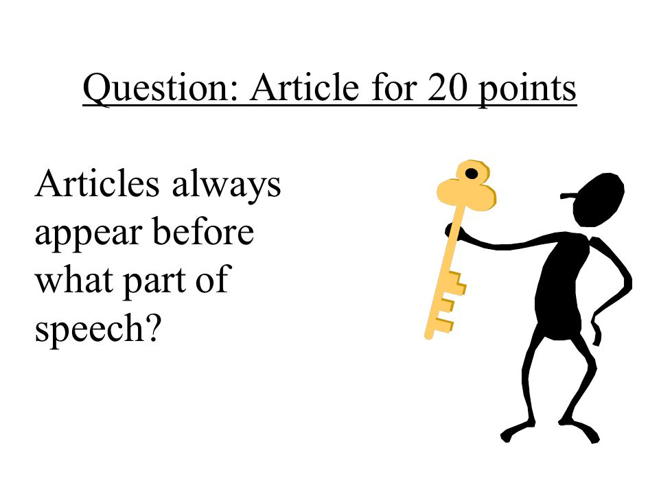 Question: Article for 20 points