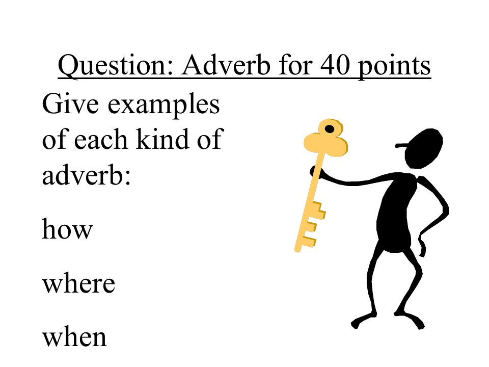 Question: Adverb for 40 points