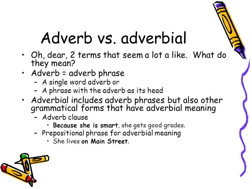 Adverb vs. adverbial Oh, dear, 2 terms that seem a lot a like. What do they mean Adverb = adverb phrase.