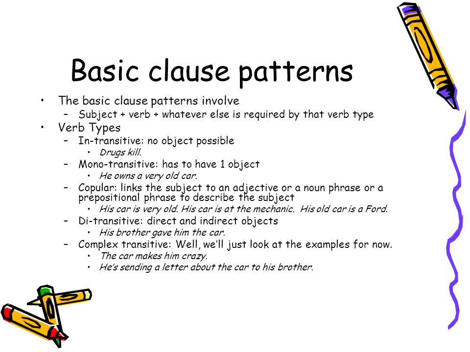 Basic clause patterns The basic clause patterns involve Verb Types