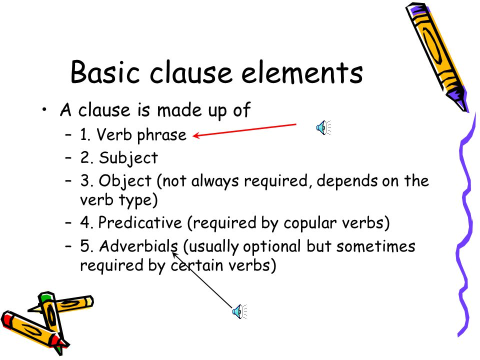 Basic clause elements A clause is made up of 1. Verb phrase 2. Subject