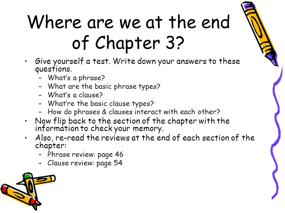 Where are we at the end of Chapter 3