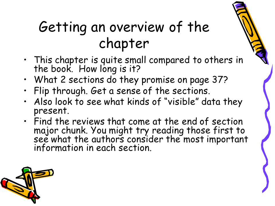 Getting an overview of the chapter