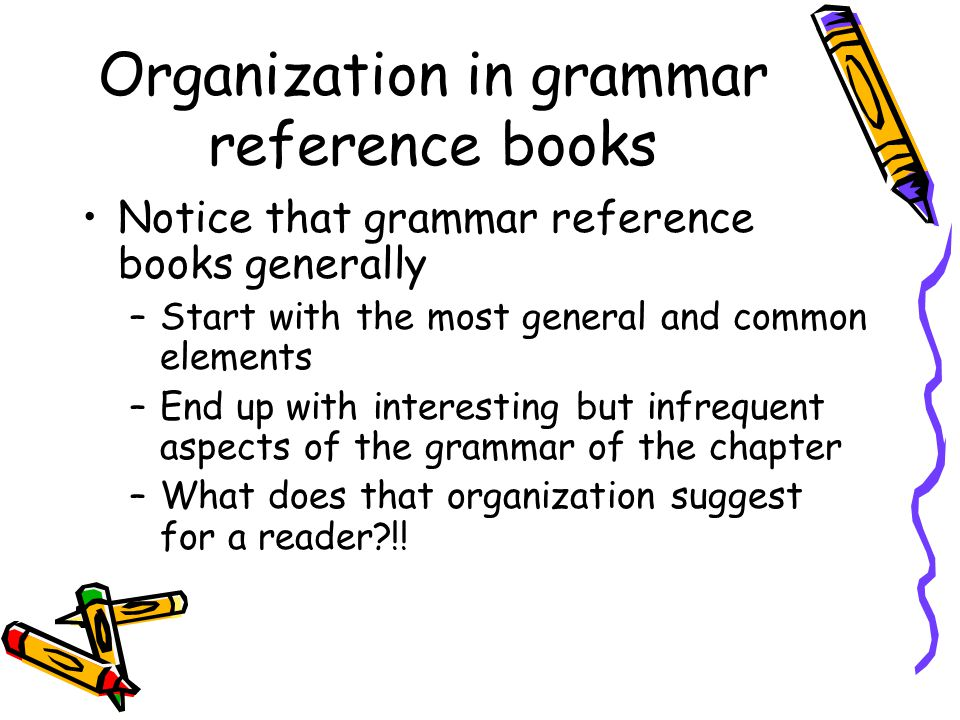 Organization in grammar reference books