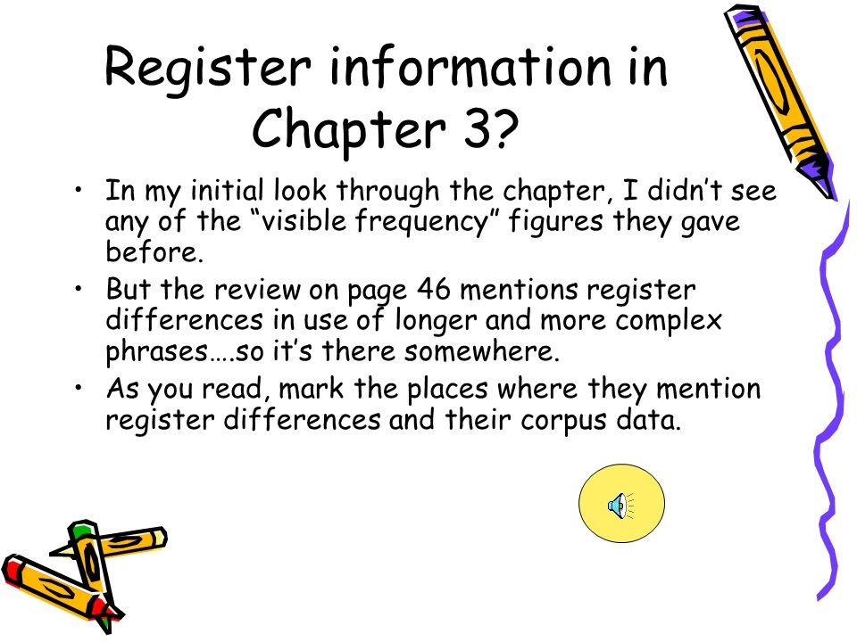 Register information in Chapter 3