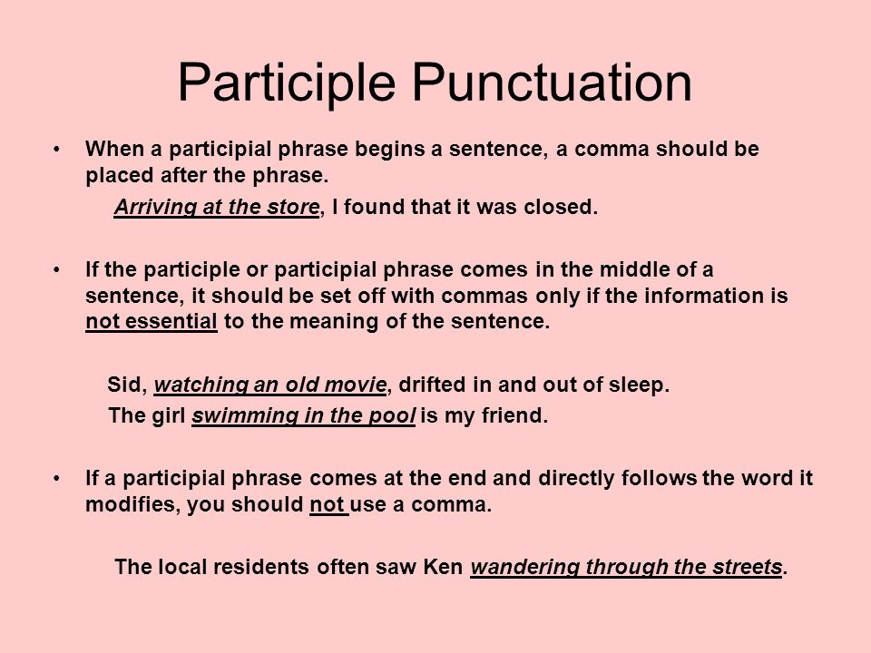 Participle Punctuation