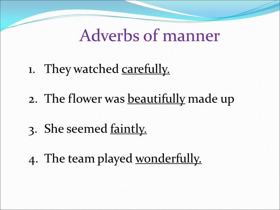Adverbs of manner They watched carefully.
