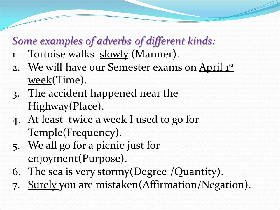 Some examples of adverbs of different kinds: