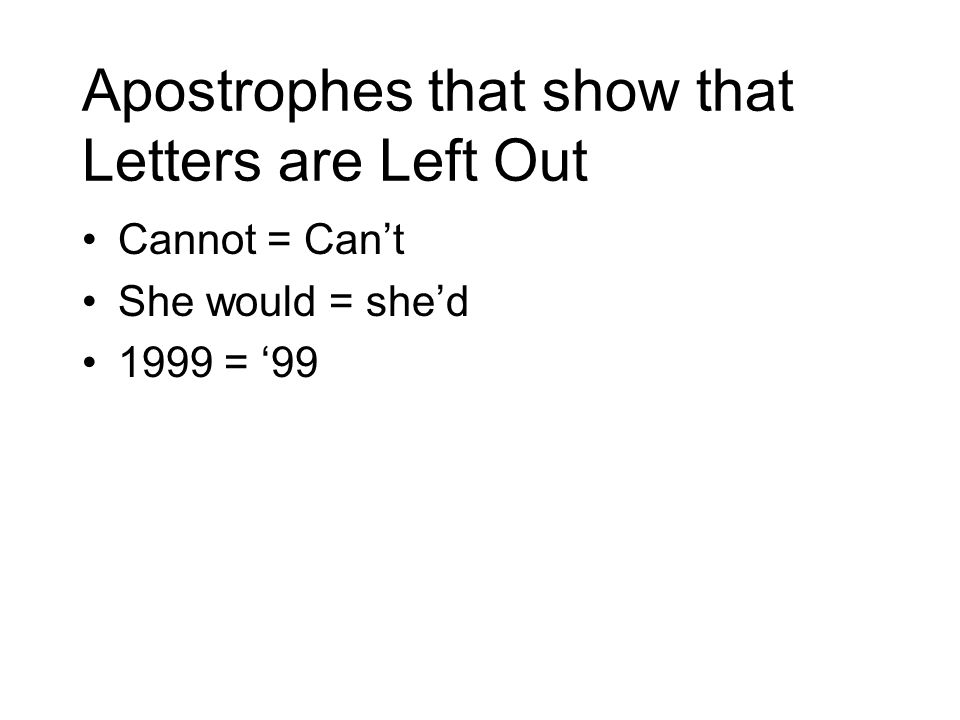 Apostrophes that show that Letters are Left Out