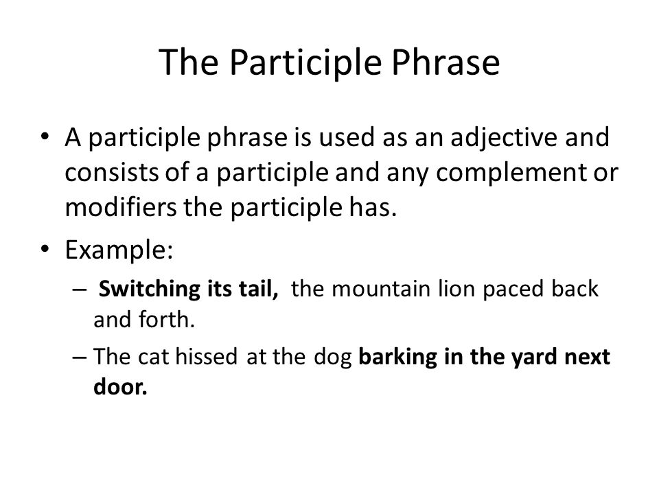 The Participle Phrase A participle phrase is used as an adjective and consists of a participle and any complement or modifiers the participle has.