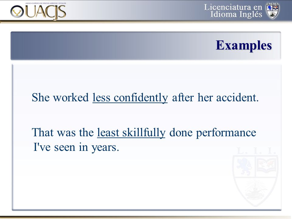 Examples She worked less confidently after her accident.