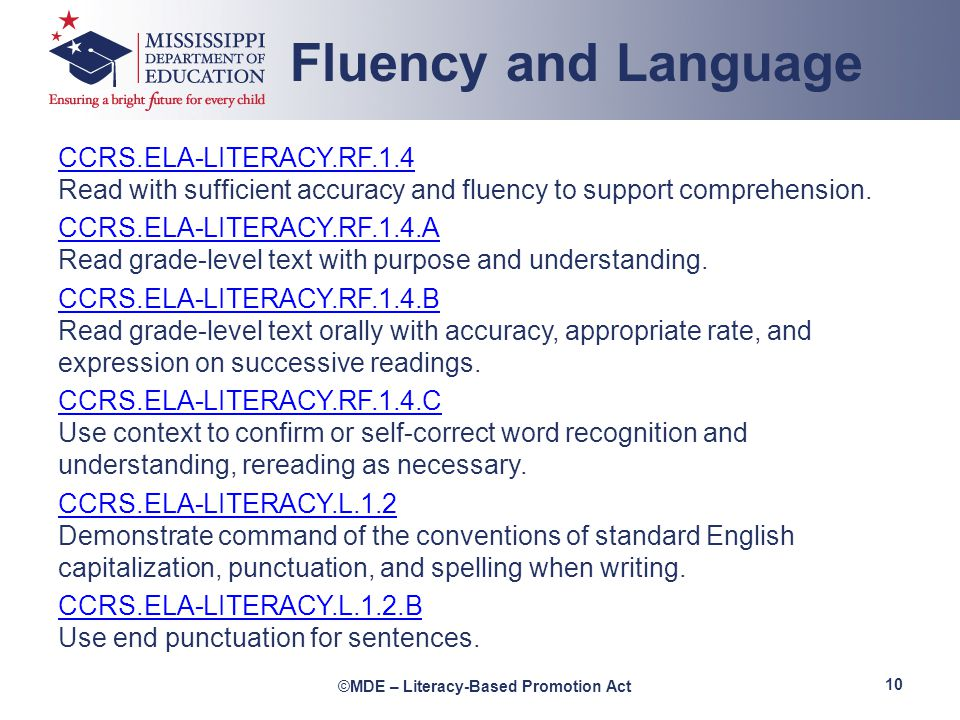 Fluency and Language CCRS.ELA-LITERACY.RF.1.4 Read with sufficient accuracy and fluency to support comprehension.