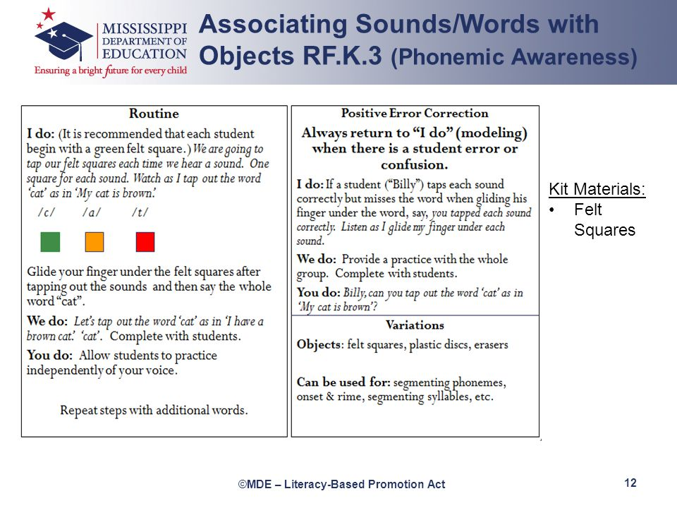 Associating Sounds/Words with Objects RF.K.3 (Phonemic Awareness)