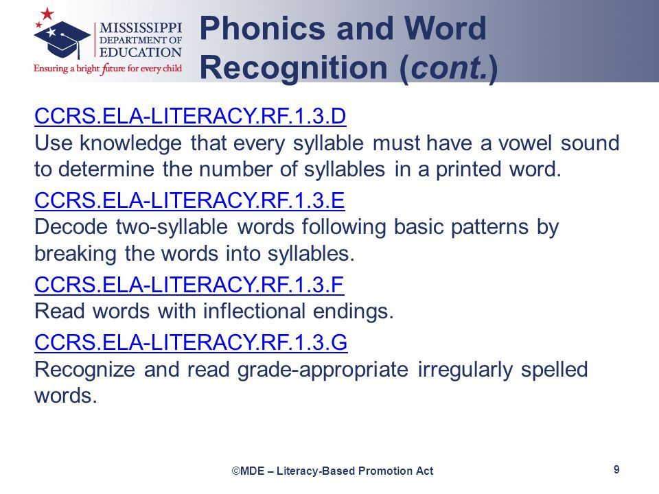 Phonics and Word Recognition (cont.)