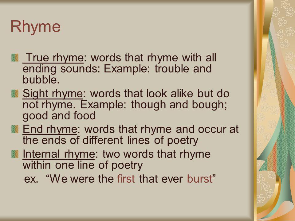 true rhyme examples