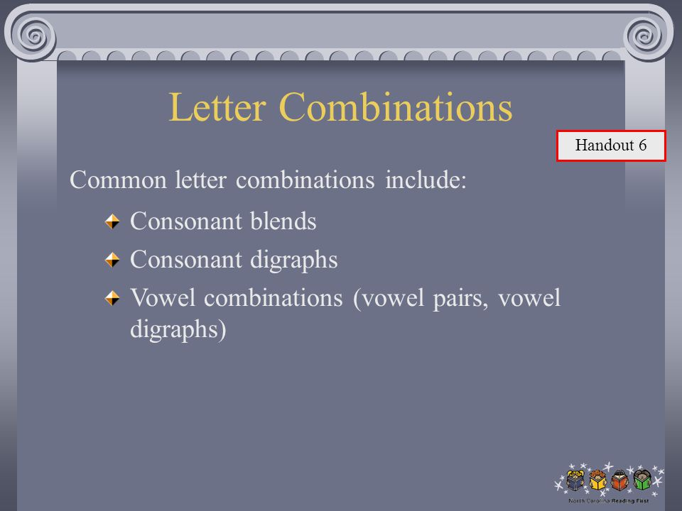 Letter Combinations Common letter combinations include: