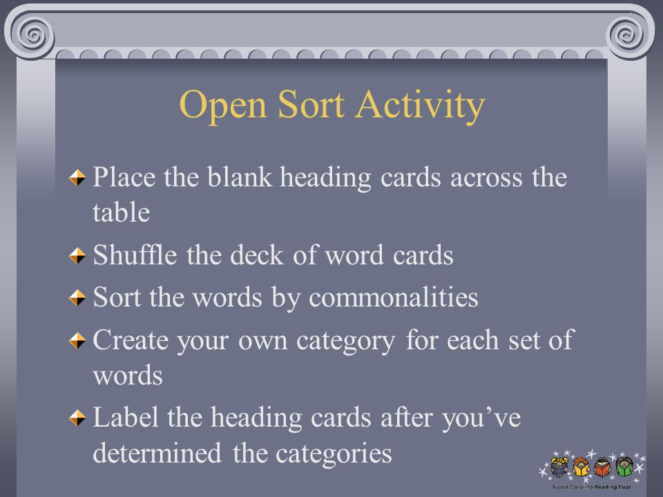 Open Sort Activity Place the blank heading cards across the table