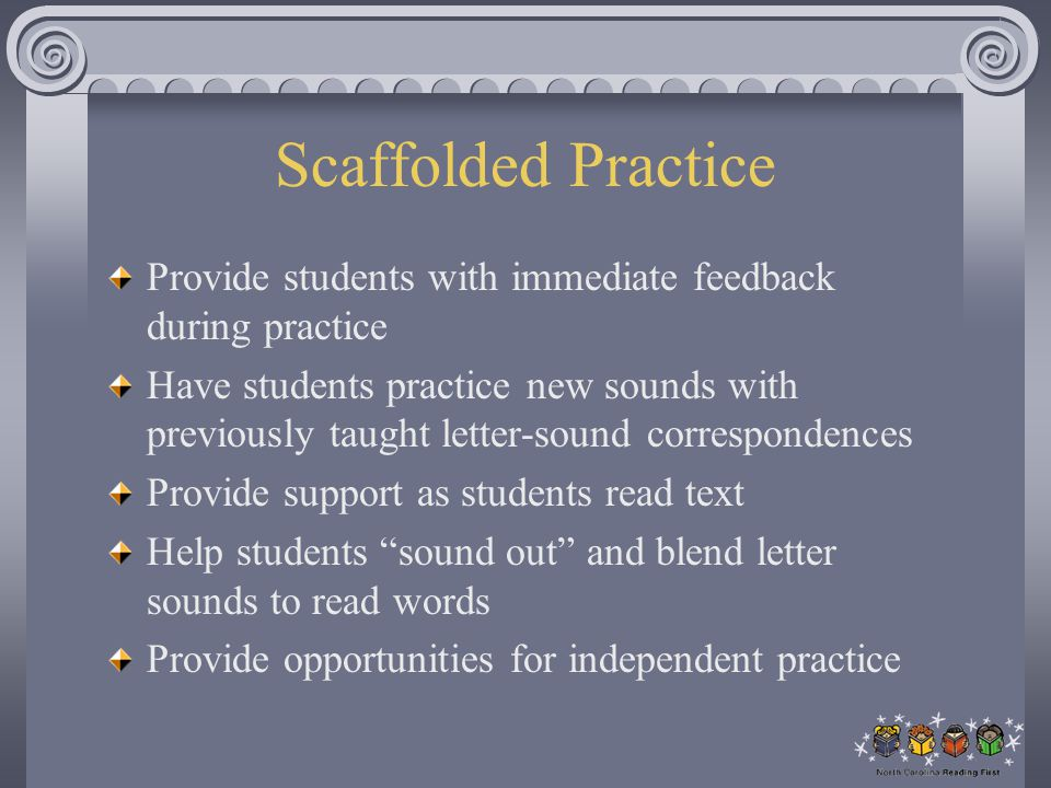 Scaffolded Practice Provide students with immediate feedback during practice.