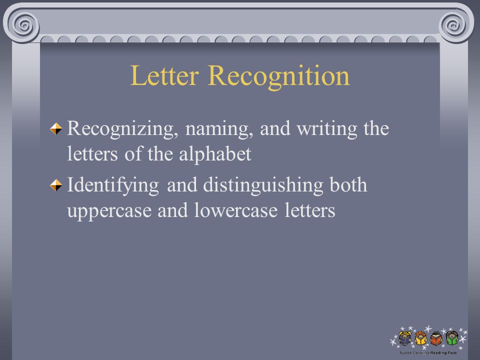 Letter Recognition Recognizing, naming, and writing the letters of the alphabet.