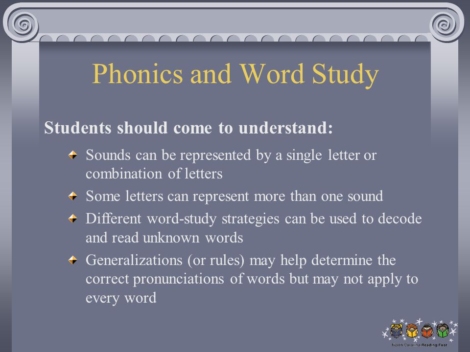Phonics and Word Study Students should come to understand: