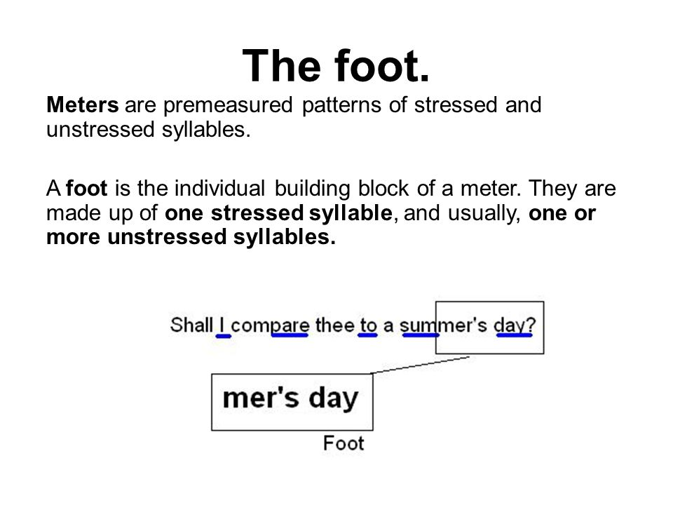 The Foot Meters Are Premeasured Patterns Of Stressed And Unstressed