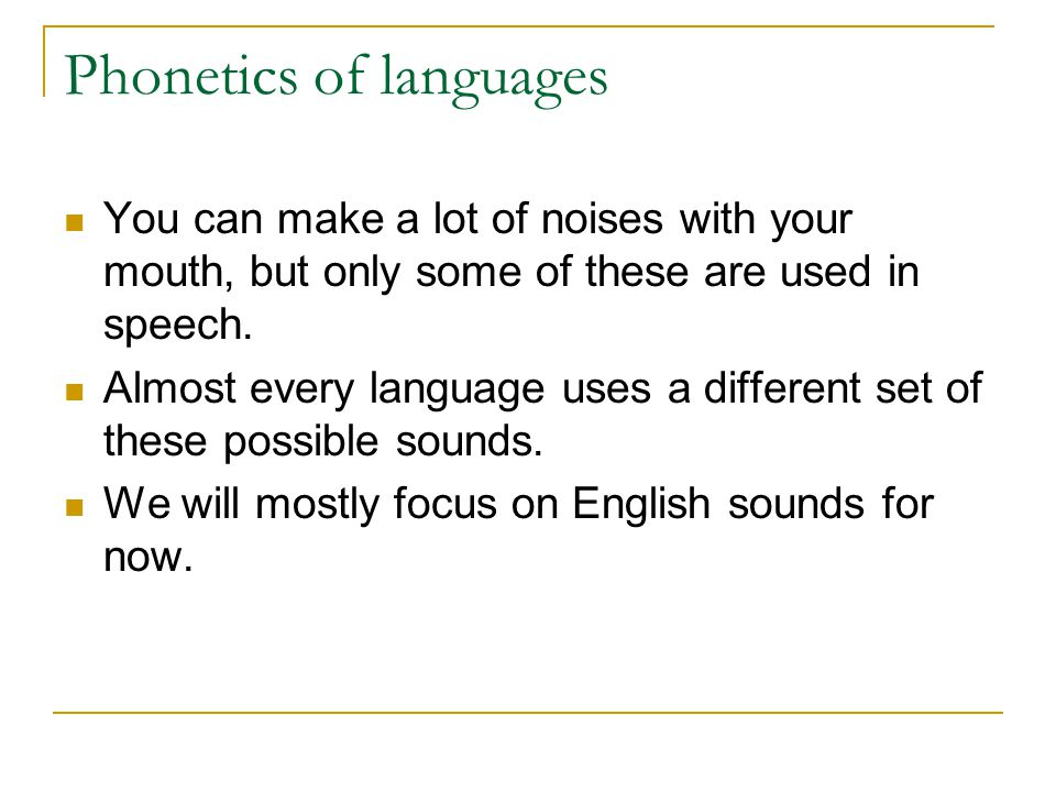 Phonetics of languages