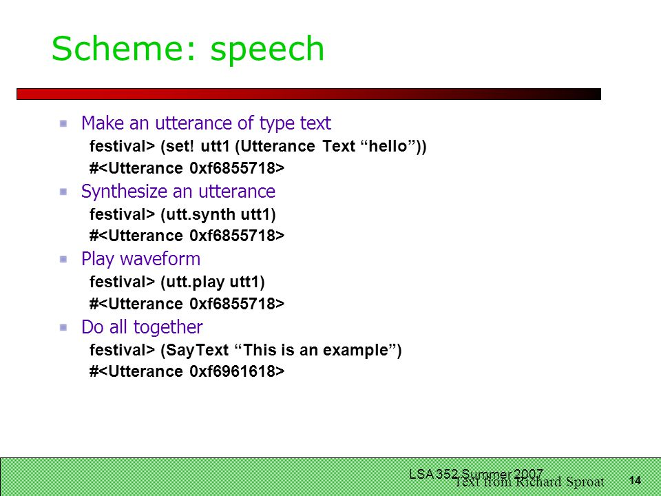LSA 352: Speech Recognition and Synthesis - ppt download