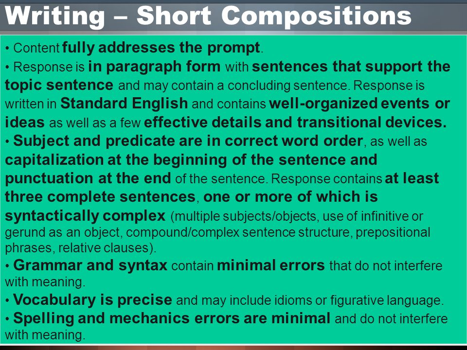 Writing – Short Compositions