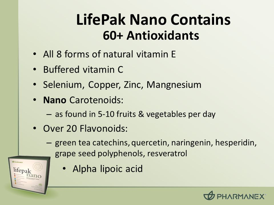 LifePak Nano Contains 60+ Antioxidants