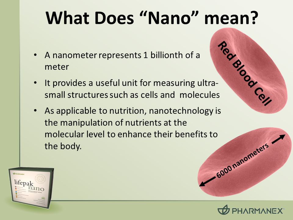 What Does Nano mean Red Blood Cell